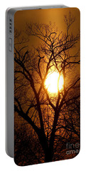 Sun Rise Sun Pillar Silhouette Portable Battery Charger by Kenny Glotfelty