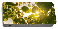 Sun Shining Through Leaves Portable Battery Charger by Chevy Fleet