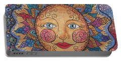Portable Battery Charger featuring the drawing Sun Tangle 2 by Megan Walsh
