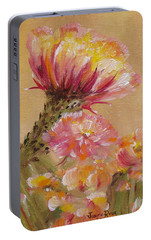 Portable Battery Charger featuring the painting Sun Worshipper by Judith Rhue