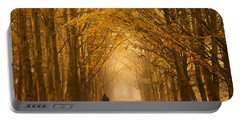 Sunday Morning Walk With The Dog In A Foggy Forest In Autumn Portable Battery Charger by IPics Photography