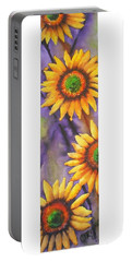 Sunflower Abstract  Portable Battery Charger by Chrisann Ellis