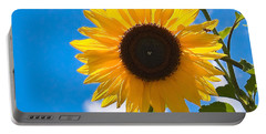 Sunflower And Bee At Work Portable Battery Charger