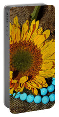 Sunflower Burlap And Turquoise Portable Battery Charger