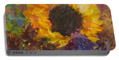 Sunflower Dance Original Painting Impressionist Portable Battery Charger