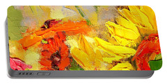 Portable Battery Charger featuring the painting Sunflower Detail by Ana Maria Edulescu