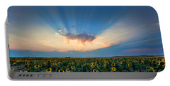 Sunflower Field At Sunset Portable Battery Charger