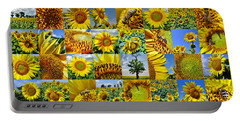 Sunflower Field Collage In Yellow Portable Battery Charger