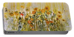 Portable Battery Charger featuring the painting Sunflower Field by Joanne Smoley
