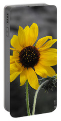 Sunflower On Gray Portable Battery Charger