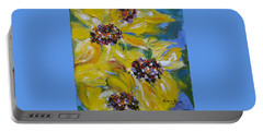 Portable Battery Charger featuring the painting Sunflower Quartet by Judith Rhue