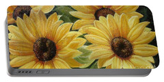 Portable Battery Charger featuring the painting Sunflower by Sorin Apostolescu