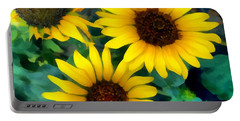 Sunflower Trio  Portable Battery Charger by Ann Powell