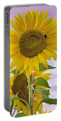 Sunflower With Colorful Evening Sky Portable Battery Charger