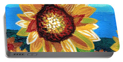 Sunflowers And Blue Sky Portable Battery Charger by Genevieve Esson