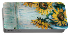 Sunflowers And Frog Portable Battery Charger by Xueling Zou