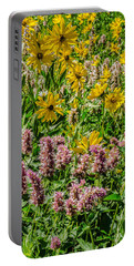Sunflowers And Horsemint Portable Battery Charger by Sue Smith