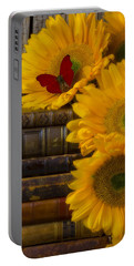 Sunflowers And Old Books Portable Battery Charger