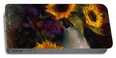 Sunflowers And Porcelain Still Life Portable Battery Charger