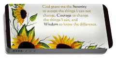 Sunflowers And Serenity Prayer Portable Battery Charger