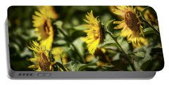 Portable Battery Charger featuring the photograph Sunflowers In The Wind by Steven Sparks