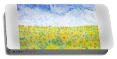 Sunflowers In A Field In  Texas Portable Battery Charger