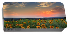 Sunflowers In The Evening Portable Battery Charger
