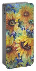 Sunflowers On Blue I Portable Battery Charger