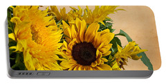 Sunflowers On Old Paper Background Art Prints Portable Battery Charger