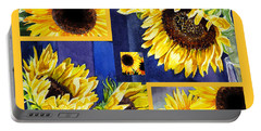 Portable Battery Charger featuring the painting Sunflowers Sunny Collage by Irina Sztukowski