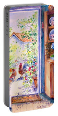 Sunlit Cottage Doorway  Portable Battery Charger by Trudi Doyle