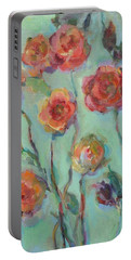 Portable Battery Charger featuring the painting Sunlit Garden by Mary Wolf