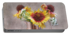 Portable Battery Charger featuring the photograph Sunny Treasure Flowers In A Copper Jug by Louise Kumpf