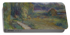 Sunny Morning In The Park -wetlands - Original - Textural Palette Knife Painting Portable Battery Charger