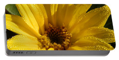 Portable Battery Charger featuring the photograph Sunny Sunflower Dew by Belinda Lee