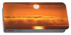 Sunrise And Fog Portable Battery Charger by E Faithe Lester