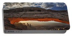 Sunrise At Mesa Arch Portable Battery Charger by Roman Kurywczak