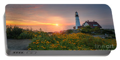 Sunrise Bliss At Portland Lighthouse Portable Battery Charger