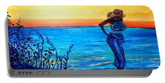 Portable Battery Charger featuring the painting Sunrise Blues by Ecinja Art Works