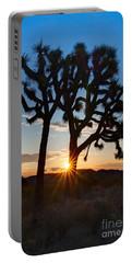 Sunrise Burst - Joshua Trees Beautifully Lit Joshua Tree National Park. Portable Battery Charger