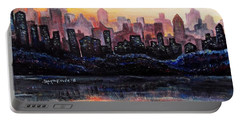 Portable Battery Charger featuring the painting Sunrise City by Shana Rowe Jackson