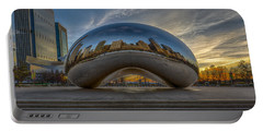 Portable Battery Charger featuring the photograph Sunrise Cloud Gate by Sebastian Musial