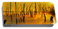 Sunrise Fog Shadows Portable Battery Charger by Roger Becker
