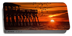 Sunrise In Myrtle Beach With Birds Flying Around The Pier Portable Battery Charger by Vizual Studio