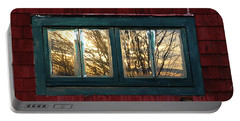 Portable Battery Charger featuring the photograph Sunrise In Old Barn Window by Susan Capuano