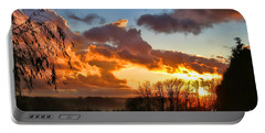 Sunrise Over Countryside Portable Battery Charger