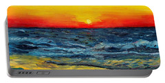 Portable Battery Charger featuring the painting Sunrise Over Paradise by Shana Rowe Jackson