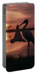 Sunrise Silhouette Of Stork Carrying Portable Battery Charger