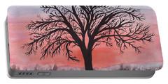 November Sunrise Walnut Tree Watercolor Portable Battery Charger