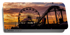 Sunset Amusement Park Farris Wheel On The Pier Fine Art Photography Print Portable Battery Charger